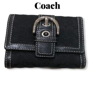 Coach Monogram Leather Buckle Wallet